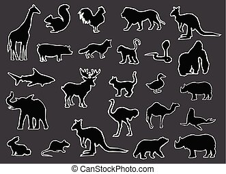 Black Silhouettes of Wild and Farm Animals Vector