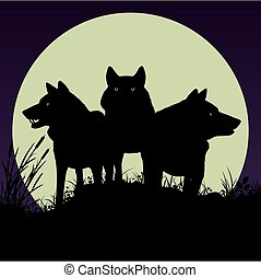 Black silhouettes of wolves.