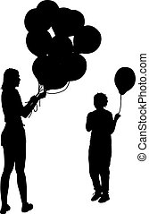 Black silhouettes of woman gives child a balloon. Vector illustration
