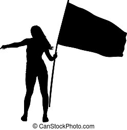 Black silhouettes of woman with flag on white background