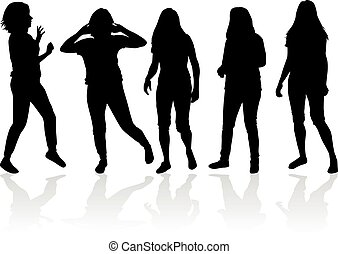 Black silhouettes of  women.