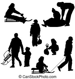 Black silhouettes set people and children with a sled white background. Vector illustration.