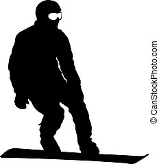 Black silhouettes snowboarders on white background illustration
