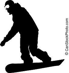 Black silhouettes  snowboarders on white background. Vector