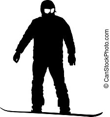 Black silhouettes  snowboarders on white background. Vector illustration.