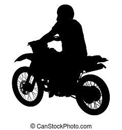 Black silhouettes sport bike on white background. Vector illustration.