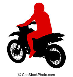 Black silhouettes sport bike on white background. Vector...
