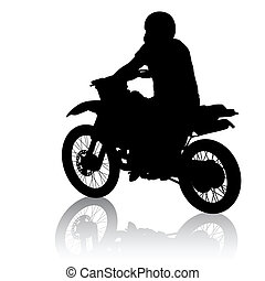Black silhouettes sport bike on white background. Vector illustration.
