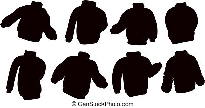Black silhouettes sweater jumper collection. Set of casual clothing template symbols