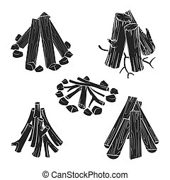 Black silhouettes wooden logs for fire vector illustration