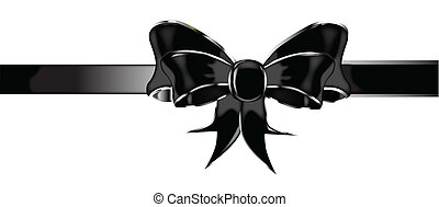 Black Silk Bow - A black silk or satin bow isolated over a...
