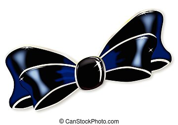 Black Silk Bow - A black silk ribbon bow isolated on white.