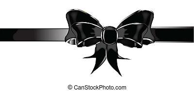 Black Silk Bow - A black silk or satin bow isolated over a...