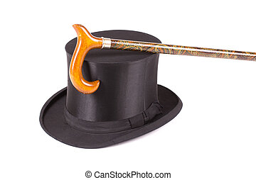 Black silk hat and walking stick