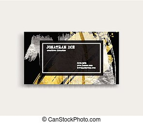 Black, Silver and Gold Business Card Template.