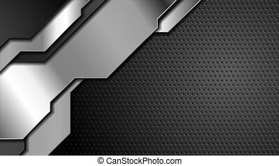 Black silver metal shapes on dark perforated background video animation