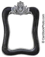Black silver vintage picture frame isolated on white background