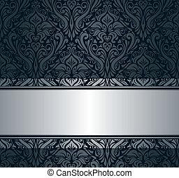 black & silver vintage wallpaper