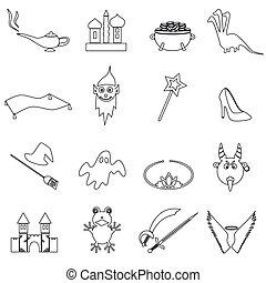 black simple fairy tales outline icons set eps10
