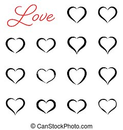 Black simple hand drawn vector heart icons
