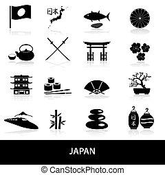 black simple japan theme icons set eps10
