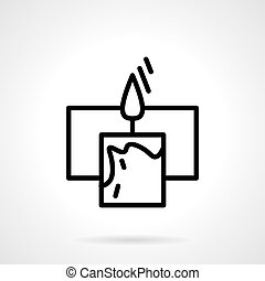 Black simple line candle with frame vector icon