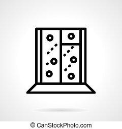 Black simple line snowy window vector icon