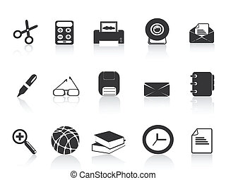 black simple office icons set for web design