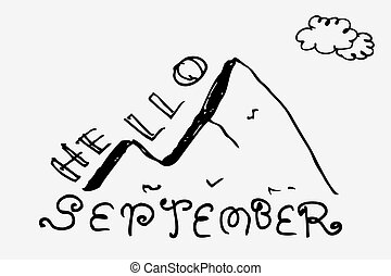 Black Simple Vector Hand Draw Sketch Lettering, Hello September