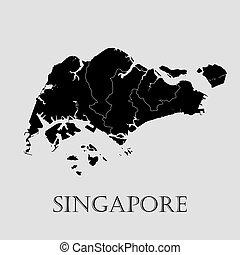 Black Singapore map - vector illustration