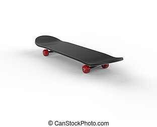 Black skateboard with red wheels 2
