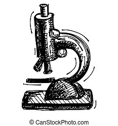 black sketch drawing of microscope