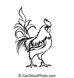 Black sketch drawing of rooster. Chinese New Year 2017.