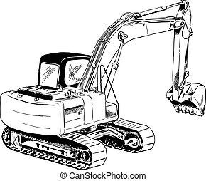 excavator - black sketch of big excavator