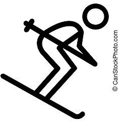 Black Skier Flat Icon on White Background