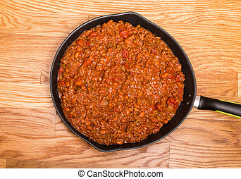 Black Skillet of Hot Chili