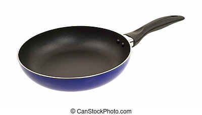 Side view of a non stick surface skillet on a white background.