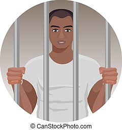 Black skin man behind bars in round button isolated