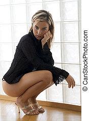 black skirt - blond cute sexy girl wearing black lingerie...