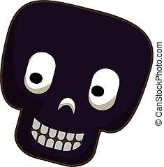Black skull icon, cartoon style