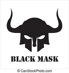 black skull mask suitable for your symbol, icon, emblem,...
