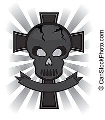 black skull over cross banner