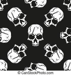 Black skull pattern on white background