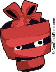 Black skull red ribbon icon, cartoon style