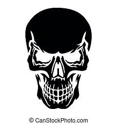 Black skull silhouette, on white background,