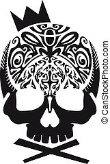 Black Skull With Crown Vector