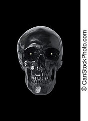 Black skull with glowing eyes isolated on black background