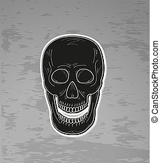 black skull with open mouth