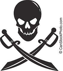 Black skull with swords isolated on white background.