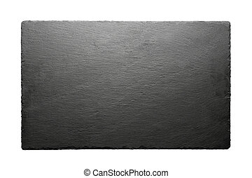 Black slate roof tile isolated on white background.